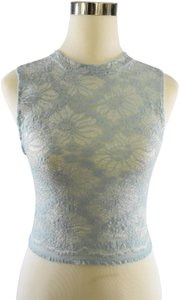 Lisa Nieves Sleeveless Crop Casual Stretchy Knit Top light blue