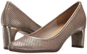 Vaneli Perforated Metallic Leather Dawne Gold Pumps
