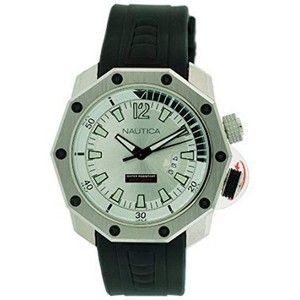 Nautica N24509G Men's Black Leather Band With Light Green Analog Dial Watch