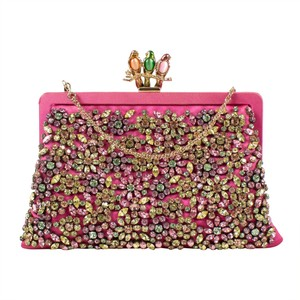 Valentino Satin Birds Stone Made In Italy Pink Clutch
