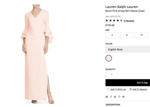 Ralph Lauren English Rose Jersey Blush Pink Bell Sleeve Gown Feminine Bridesmaid/Mob Dress Size 4 (S)