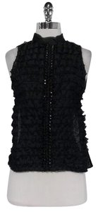 Robert Rodriguez Silk Ruffled Top Black