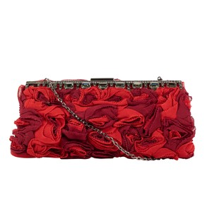 Valentino Silk Floral Studded Made In Italy Chain Strap Red Clutch