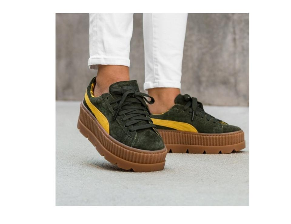 reputable site 5db20 4b38e FENTY PUMA by Rihanna Army Green Army-green Cleated Creeper Suede Platforms  Size US 7.5 Regular (M, B)