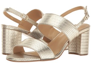 Vaneli Woven Chain Slingback Gold Metallic Leather Sandals