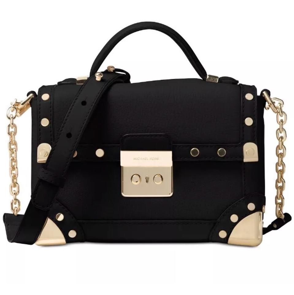 c8dd172187b80 Michael Kors Cori Small Trunk Shoulder In Black Leather Satchel ...