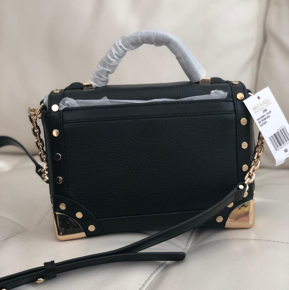 180174531e893 Michael Kors Cori Small Trunk Shoulder In Black Leather Satchel ...