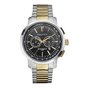 Nautica N23601G Men's Gold Silver Steel Bracelet With Black Analog Dial Watch