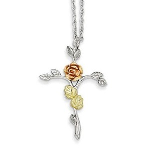 Apples of Gold 12K Rose Gold & Silver Rose of Sharon Necklace