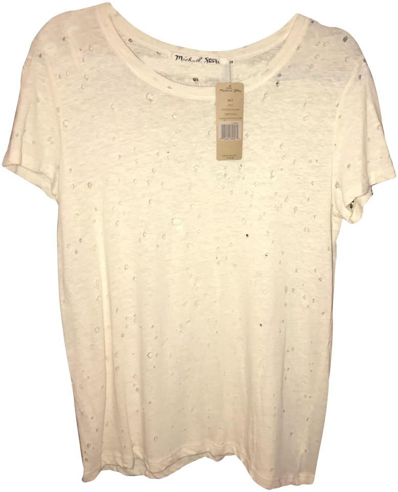 Michael Stars Chalk Ripped Textured Jerse Tee Shirt Size Os One
