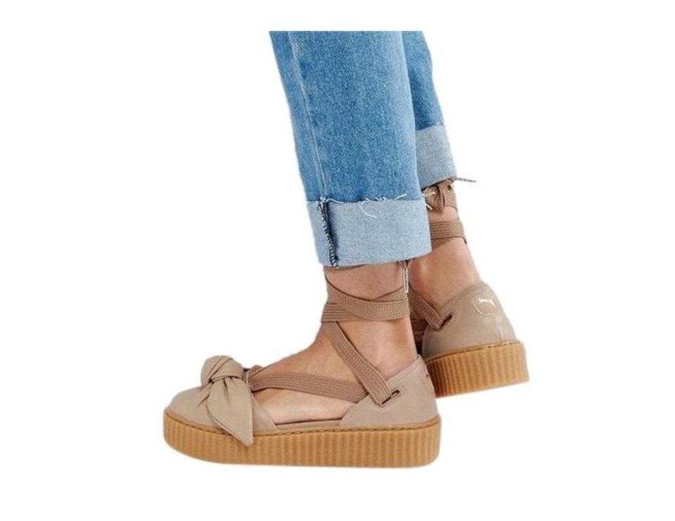big sale d9cf0 6421d FENTY PUMA by Rihanna Natural Oatmeal Bow Creeper Sandal Flats Size US 7.5  Regular (M, B)