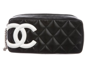 Chanel CHANEL CC LOGO QUILTED LEATHER COSMETIC MAKE UP CASE POUCH BAG BOX