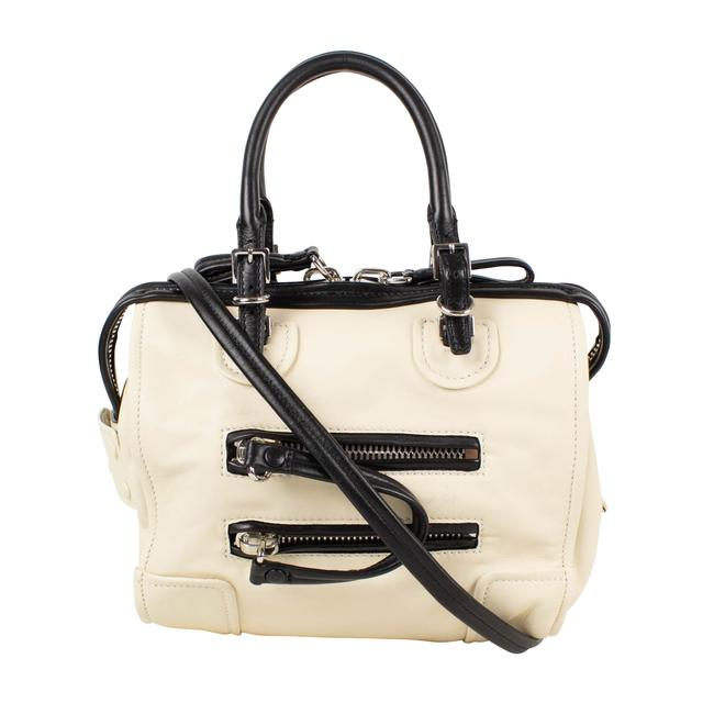 Item - And Small Duffel Ivory/Black Leather Weekend/Travel Bag