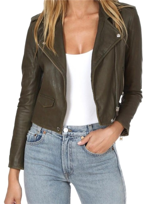 Item - Khaki Olive Green Asheville Distressed Motorcycle Jacket Size 4 (S)