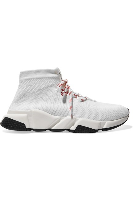 Item - White Speed Stretch-knit High-top Sneakers Size EU 38 (Approx. US 8) Regular (M, B)