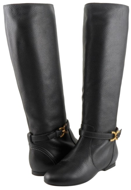 Item - Black Ch17064 Leather Knee High Riding 5.5 Eur 35 Boots/Booties Size EU 35.5 (Approx. US 5.5) Regular (M, B)