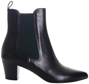 Gucci Green Inset Pointed Toe Pull On 9.5 Black Boots