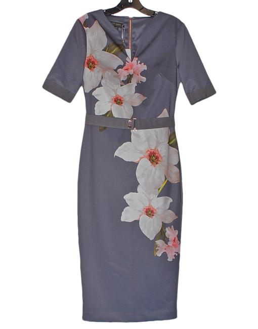 Item - Grey Bisslee Chatsworth Floral Sheath Mid-length Work/Office Dress Size 6 (S)