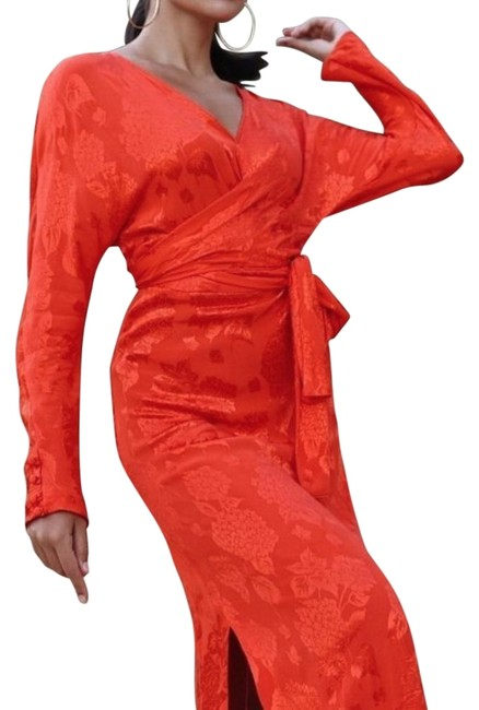 Item - Orange Kimono Oriental Jacquard Knot Long Formal Dress Size 2 (XS)