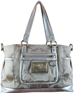 Coach Satin Daisy Silver Hardware Optic Print Tote