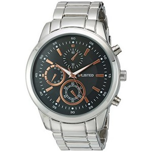 Unlisted by Kenneth Cole 10027762 Men's Silver Steel Bracelet With Black Analog Dial Watch NWT