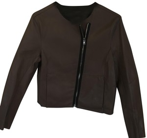 Muubaa Zipper Fullzip Brown Leather Jacket