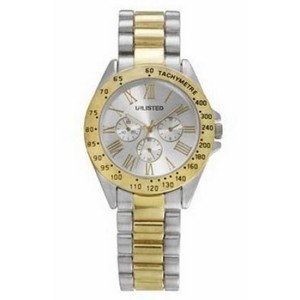 Unlisted by Kenneth Cole 10029409 Women's Two Tone Bracelet With Silver Analog Dial Watch NWT