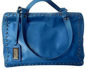 Badgley Mischka Leather Tote Studded Satchel in Turquoise Blue