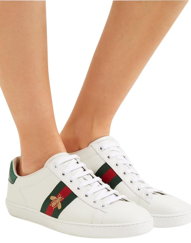 a3f8fc756cb Gucci White Gucci s  ace  Watersnake-trimmed Embroiled Sneakers It38 ...