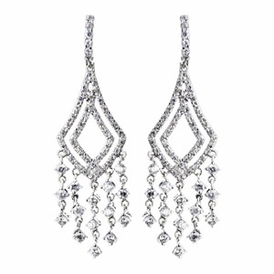 Elegance by Carbonneau Silver Antique Clear Cz Crystal Chandelier Earrings