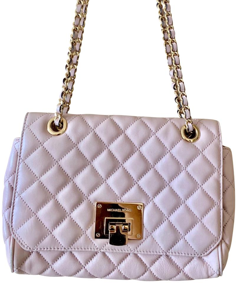 17ab55cbb33a86 Michael Kors Sloan Large Quilted Soft Pink Lambskin Leather Shoulder ...