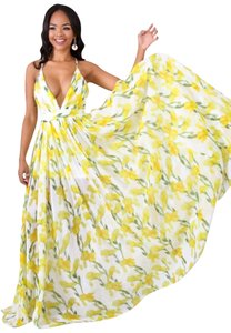 Yellow and white Maxi Dress by Luxxel