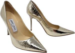 Jimmy Choo Abel Metallic Hardware Anouk Snakeskin Gold Pumps