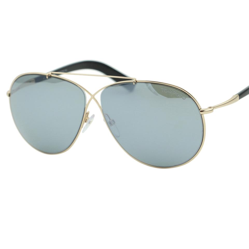 fc431af561d3 Tom Ford Gold   Black Ft-0374 Eva Women Metal Cross Over Detail Infinity  Mirrored Sunglasses