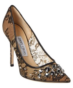 Jimmy Choo Crystal Lace Mesh Anouk Lyzo Black Pumps