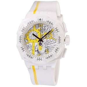 Swatch SUIW410 Men's White Rubber Band With Multicolor Analog Dial Watch NWT