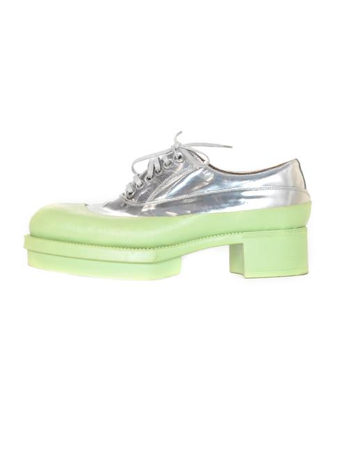 Item - Green/Silver Mint/Metallic Rubber & Leather Heeled Lace Up Oxfords Platforms Size EU 38.5 (Approx. US 8.5) Regular (M, B)