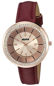Unlisted by Kenneth Cole 10030914 Women Red Leather Bracelet With Rose Gold Analog Dial Watch
