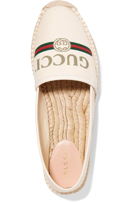 Item - Off-white Pilar Leather-trimmed Logo-print Canvas Espadrilles Flats Size EU 38 (Approx. US 8) Regular (M, B)