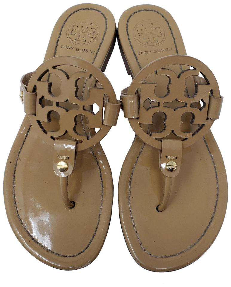 e61e66596e7216 Tory Burch Beige Tan Patent Leather Miller Sandals Size US 6.5 ...