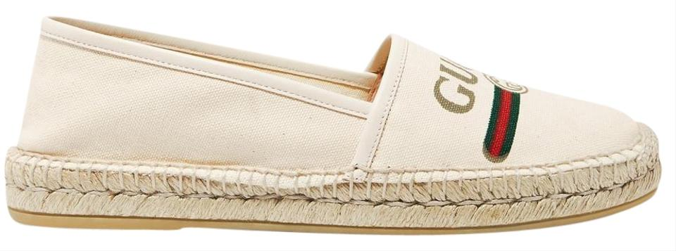 Gucci Off,white Pilar Leather,trimmed Logo,print Canvas Espadrilles It37.5  Flats Size US Regular (M, B)