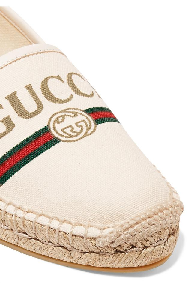 c77490f2181 Gucci Off-white Pilar Leather-trimmed Logo-print Canvas Espadrilles ...