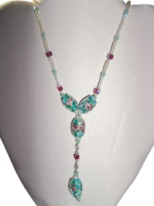 Handmade Handmade Swaroski Beaded Necklace, Fuschia/Teal, Bugle, Seed and Lampwork Beads