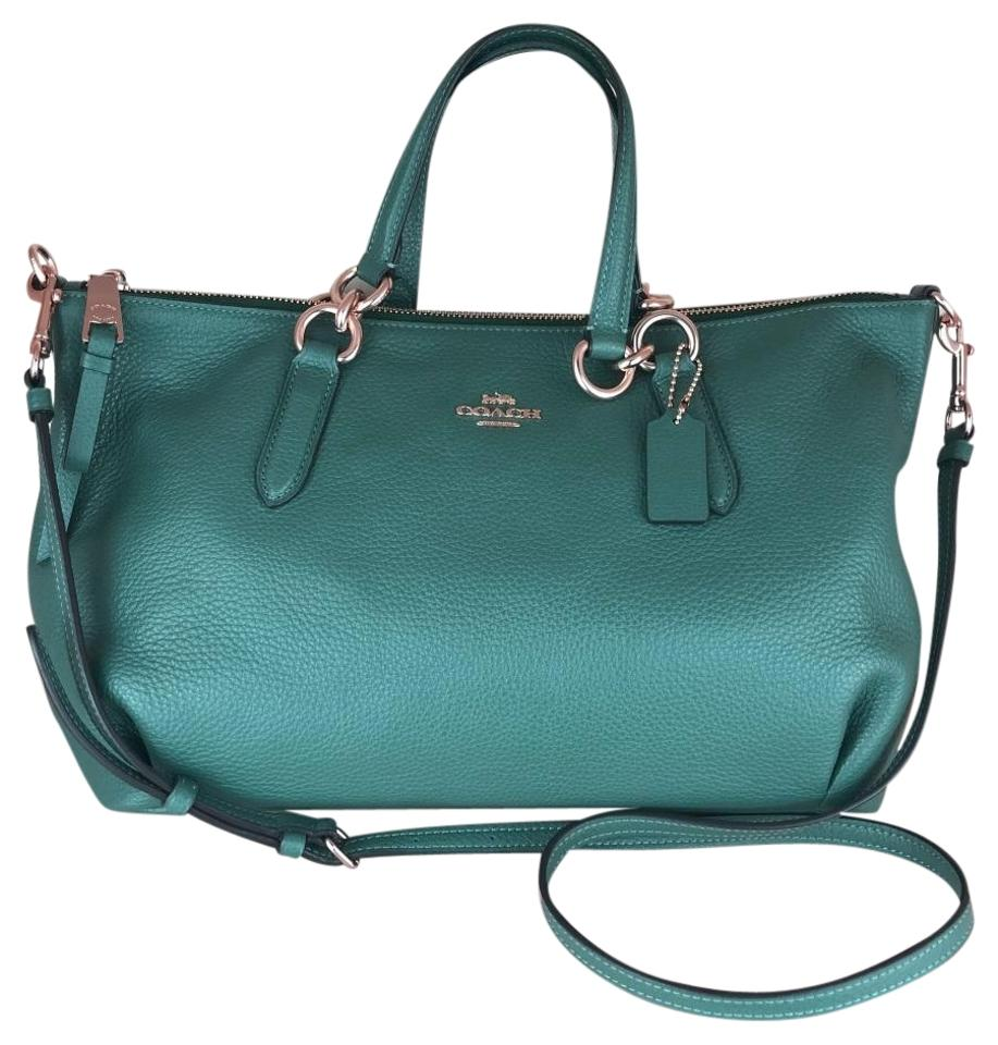 0cd74e80cf1d Coach Ally Dark Turquoise Light Gold Refined Pebble Leather Satchel ...