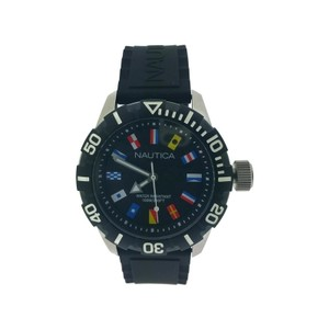 Nautica NAD11532G Men's Black Silicone Bracelet with Black Analog Dial Watch