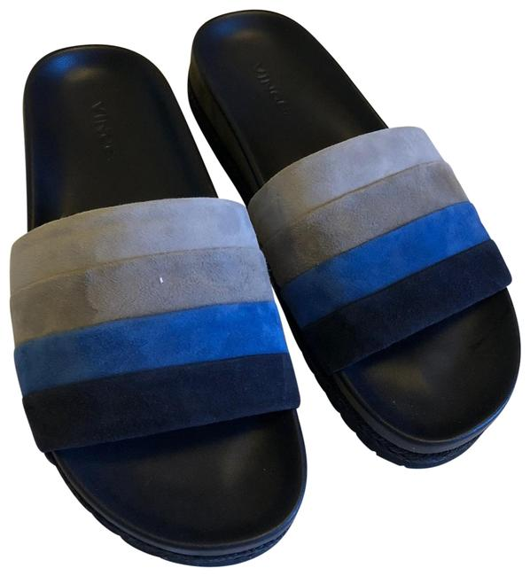 Item - Multi Blue Aurelia Suede Slides Sandals Size US 7.5 Regular (M, B)