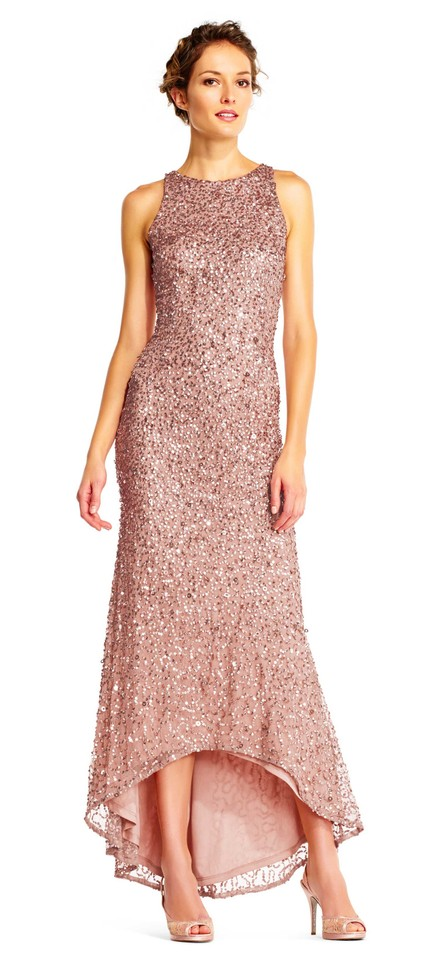 Adrianna Papell Rose Gold High Low Sequin Beaded Halter Gown 8 Long ...