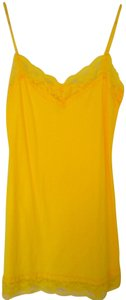 Bozzolo Spaghetti Straps Lace Trim Stretch Top Yellow