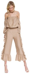 Endless Rose Ruffle On Each Palazzo Wide Leg Pants Beige