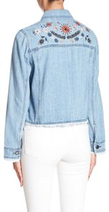 cupcakes and cashmere Vintage Style Embroidered Multi W Blue Denim Womens Jean Jacket